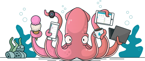 A squid holding various electronic devices in his tentacles, along with an ice cream cone and a cup of coffee